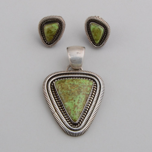 Artie Yellowhorse pendant and earring set with Gaspeite, vibrant green mixed with brown matrix.