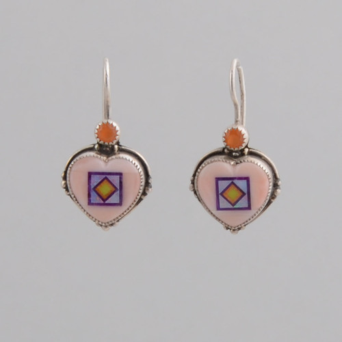 Small, delicate earrings with intricate stone to stone inlay.  Look at ALDNK.11.11.001 for a necklace that looks great with these earrings!