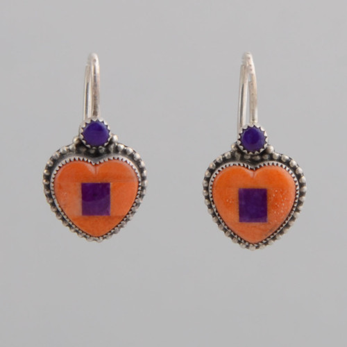 Small orange spiny oyster shell hearts, with very simple inlay work.