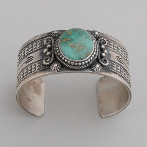 Sterling Silver Cuff with Royston Turquoise, Detailed Repousse work.