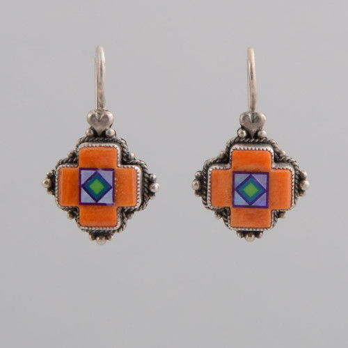 Inlaid Four Directions earrings with some nice movement.