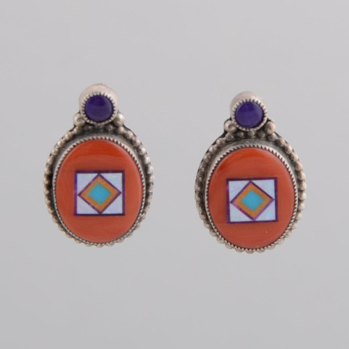 Small oval coral earrings with very nice inlay!