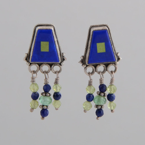 """Lapis lazuli and green turquoise with lapis and peridot """"tassels"""" show a touch of elegant whimsy."""