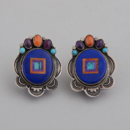 Accent colors on top and in the inlay make these lapis lazuli earrings POP.  The silver work adds nice balance.