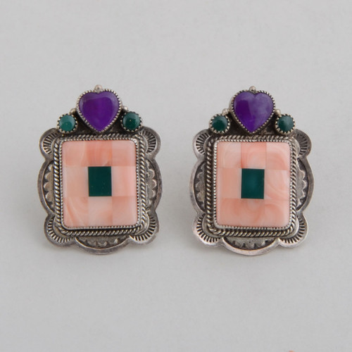 "A sugilite heart with malachite ""dots"" top these beautiful Angel Skin (pink) coral earrings.  The silver provides a nice frame for this picture!"