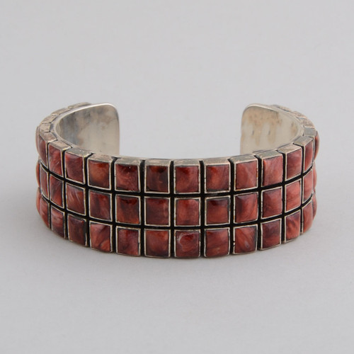 SterlingSilver with Orange Spiny Oyster Shell Tile Bracelet.