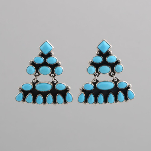 This pair of earrings features beautiful Turquoise and Sterling Silver work.