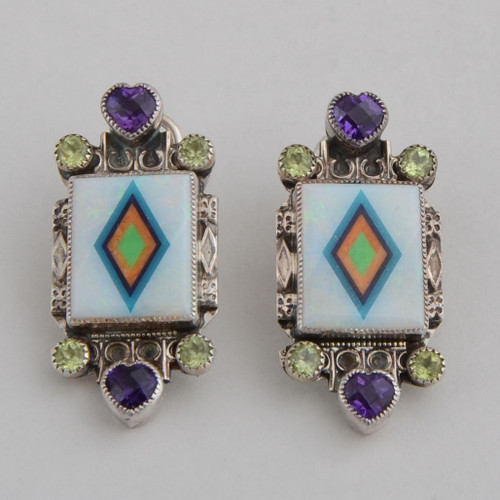 "Amethyst hearts and peridot ""dots"" frame these delicate inlaid natural opal earrings."