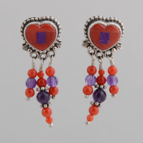 "Small coral and sugilite earrings with amethyst and red beads for ""tassels."""