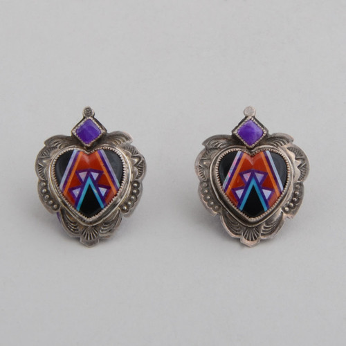 Sugilite tips these striking inlaid earrings.  The colors and silver work makes them works of art!