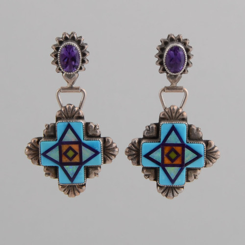 Amethysts top these bold Four Directions earrings.  Look at ALDPD.11.11.011 for a pendant that looks great with these earrings!