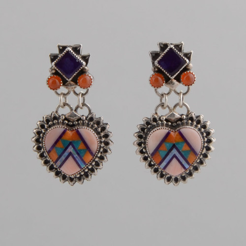 Sugilite and fire opal top these beautiful coral inlaid earrings.  Look at ALDPD.11.11.004 for a pendant that looks great with these earrings!
