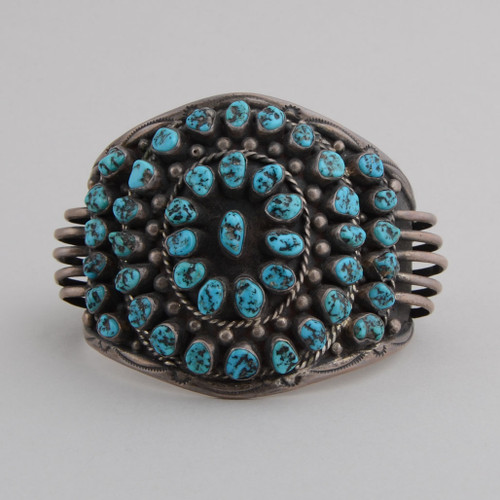 Beautiful Kingman Nuggets adorn this wonderful Sterling Silver Cuff Bracelet.