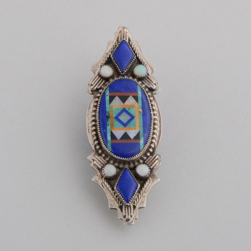 Lapis lazuli pendant with nice silver and inlay work.  This beauty can be worn as a pendant or pin.