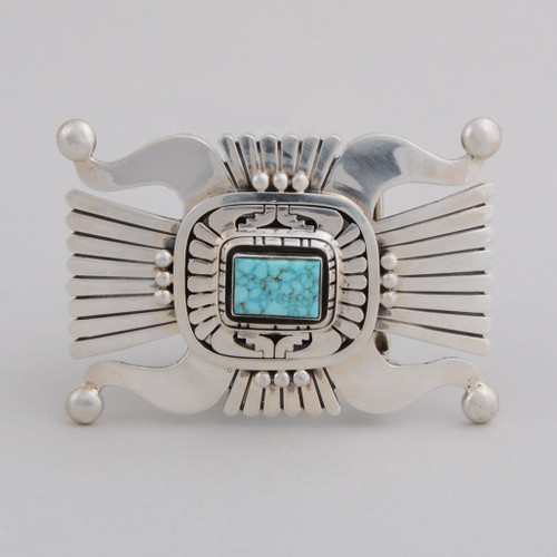 Contemporary sterling silver buckle with Turquoise stone.