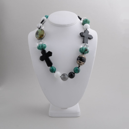 Kim Yubeta Crosses and Beads Choker