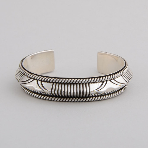 Artie Yellowhorse hammered sterling silver cuff.