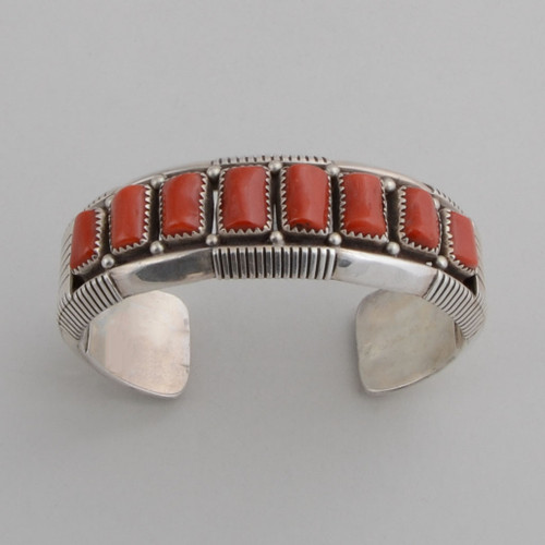 Sterling silver cuff with beautiful, natural Mediterranean red coral.