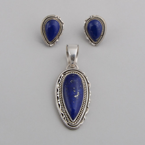 Artie Yellowhorse Lapis Lazuli pendant and earring set.  Beautiful color and some very nice pyrite!