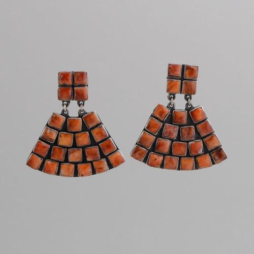 Sterling Silver Clip Earrings w/Orange Spiny Oyster Shell Tile Fan Design.