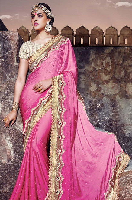 Pink Color Wedding Or Engagement Sari  (S0351)