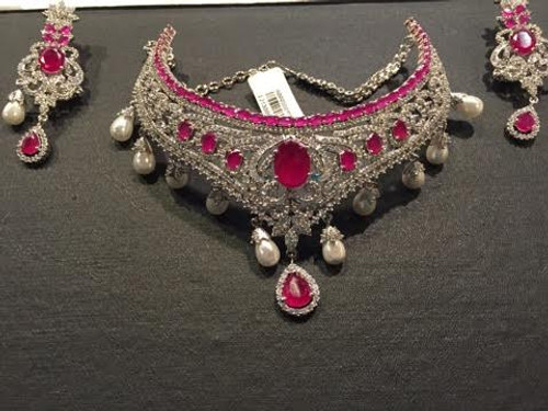 Pink And Silver American Diamond Necklace Set (JN024)