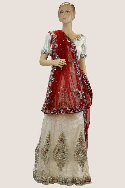 White And Red Bridal Lehengha ( L0113 )