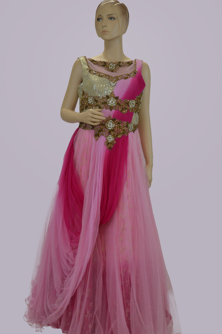 Elegant pink color floor length dress
