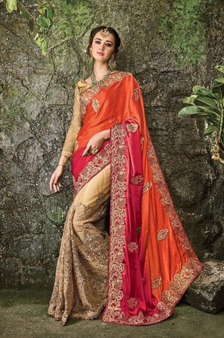 Beige, Red And Orange Color Net Sari (S0485)