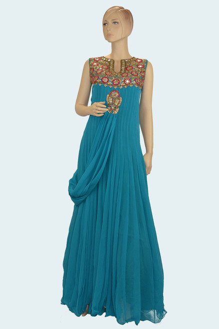 Teal color long gown style dress with elegant embroidery work.