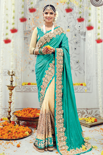 Teal Green Wedding Sari (S0490)