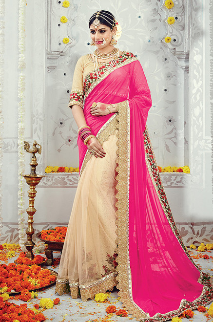 Pink And Beige Color Wedding Sari (S0497)