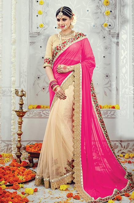 Pink And Beige Color Wedding Sari (S0497)