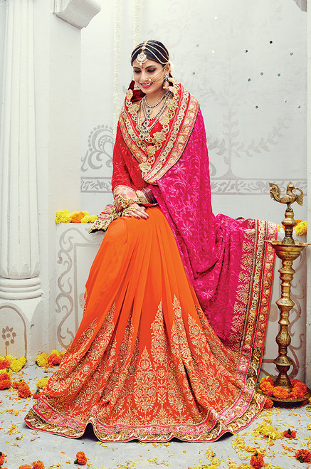 Red And Orange Wedding Sari (S0502)