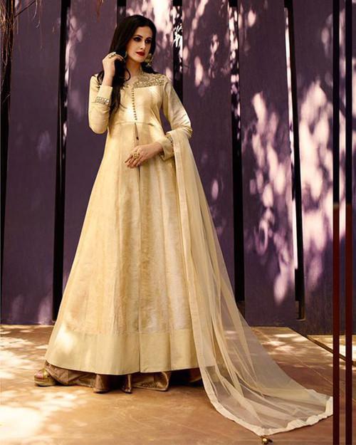 Cream Raw Silk Suit (D0729)