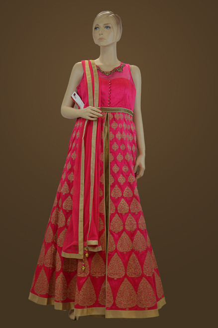 Pink Raw Silk Lehenga Suit (D0733)