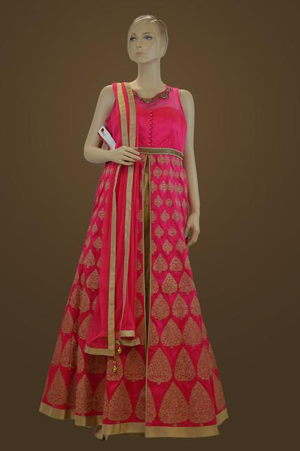 Pink Raw Silk Lehenga Suit (D0733)