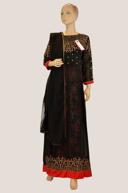 Black color long salwar kameez with floral embroidery work. Comes with matching dupatta.