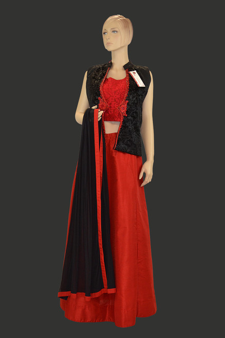 Red color crock top dress with black jacket and dupatta.