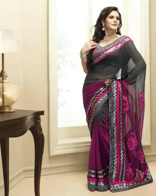 Grey & Pink Georgette Saree (S0052)