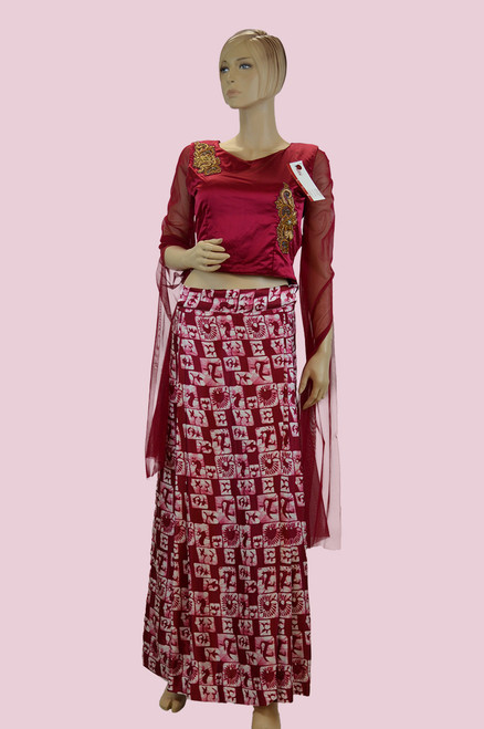 Maroon color crock top dress with long stylish sleeves