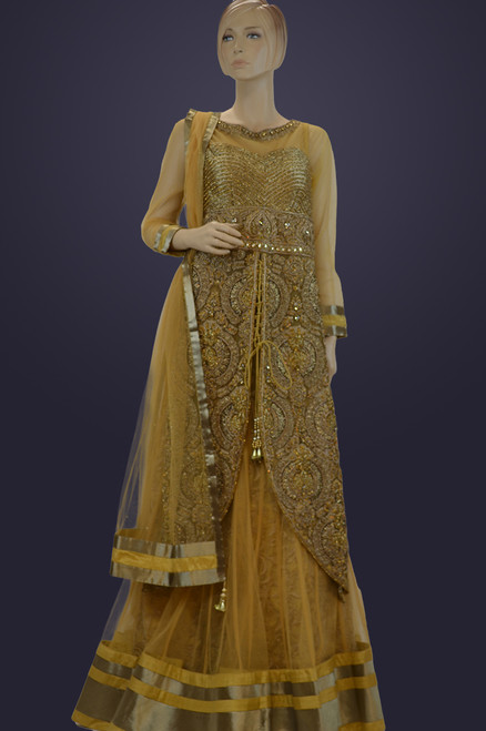 Gold color jacket style dress ( D0872 )