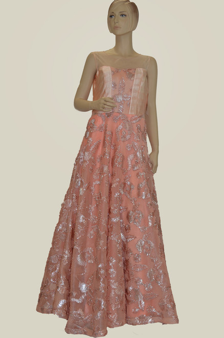 Peach color floor length gown