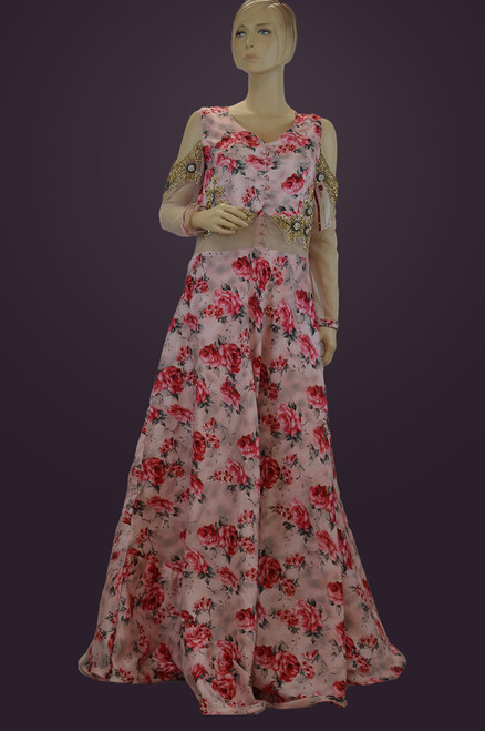 Pink floral party wear floor length dress