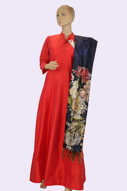 Red color long dress with printed colorful dupatta
