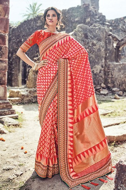 Red Color Benarasi Silk Wedding Sari (S0575)