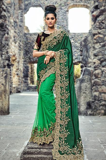 Green Color Net Wedding Sari (S0580)