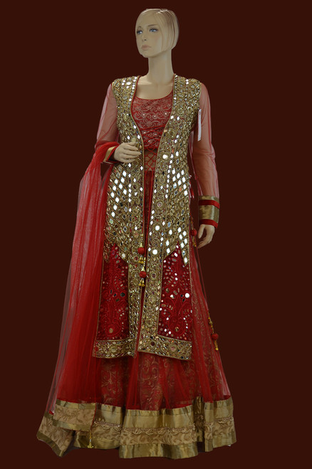 Red color mirror work dress for Indian wedding outfit