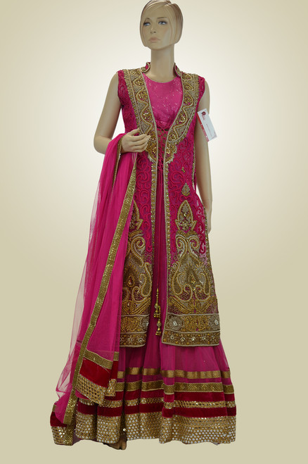 Pink color Indian wedding dress  with extremely beautiful work