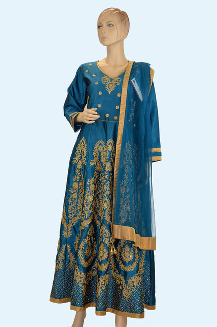 Teal color anarkali dress (D1001)
